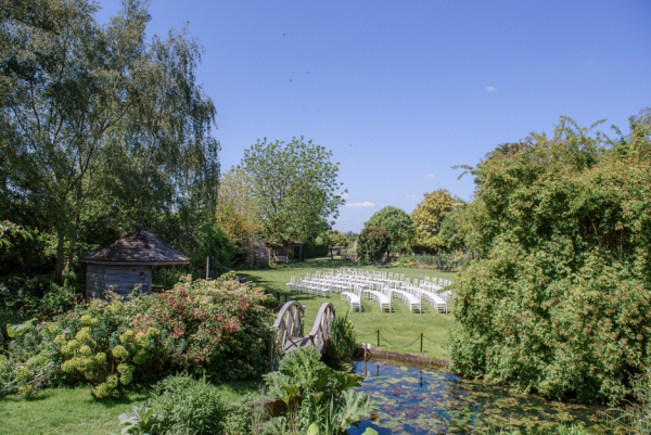 The grounds outside our barn wedding venue in Essex