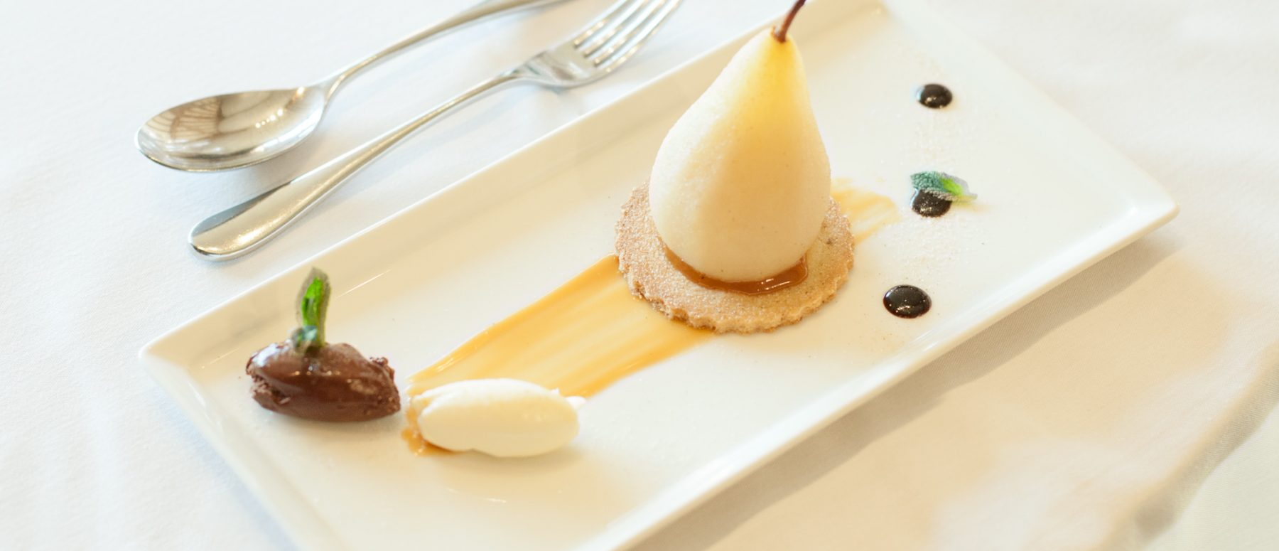 Poached Pear with Salted Caramel on a Spiced Sable Biscuit ...
