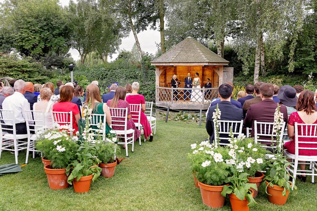 Guests Seated for Garden Ceremony at South Farm