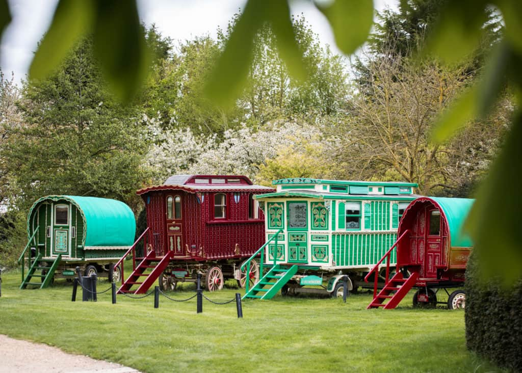 Colourful Romany Caravans and Spring Blossom at South Farm