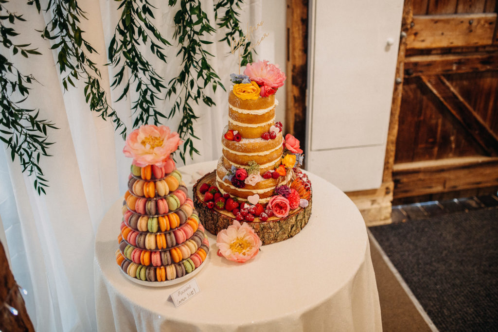 Colourful Wedding Cake at Macaroon Tower at South Farm Cambridgeshire