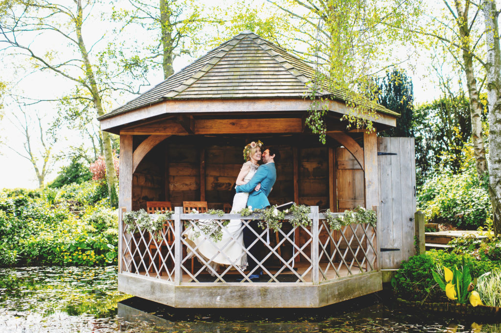 Just Married Couple in Garden Summerhouse at South Farm Cambridgeshire