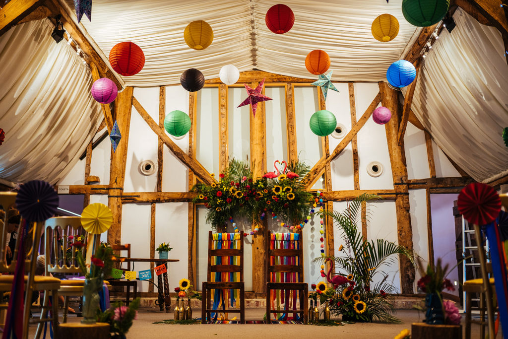 Colourful Ceremony Set up at South Farm
