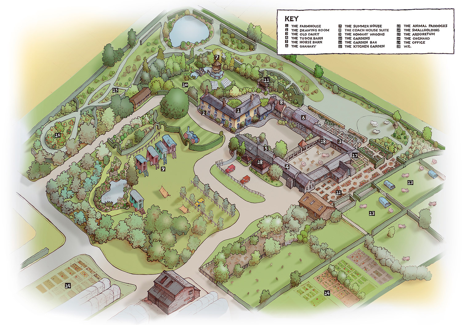 South Farm Illustrated Venue Map by Richard Bowring