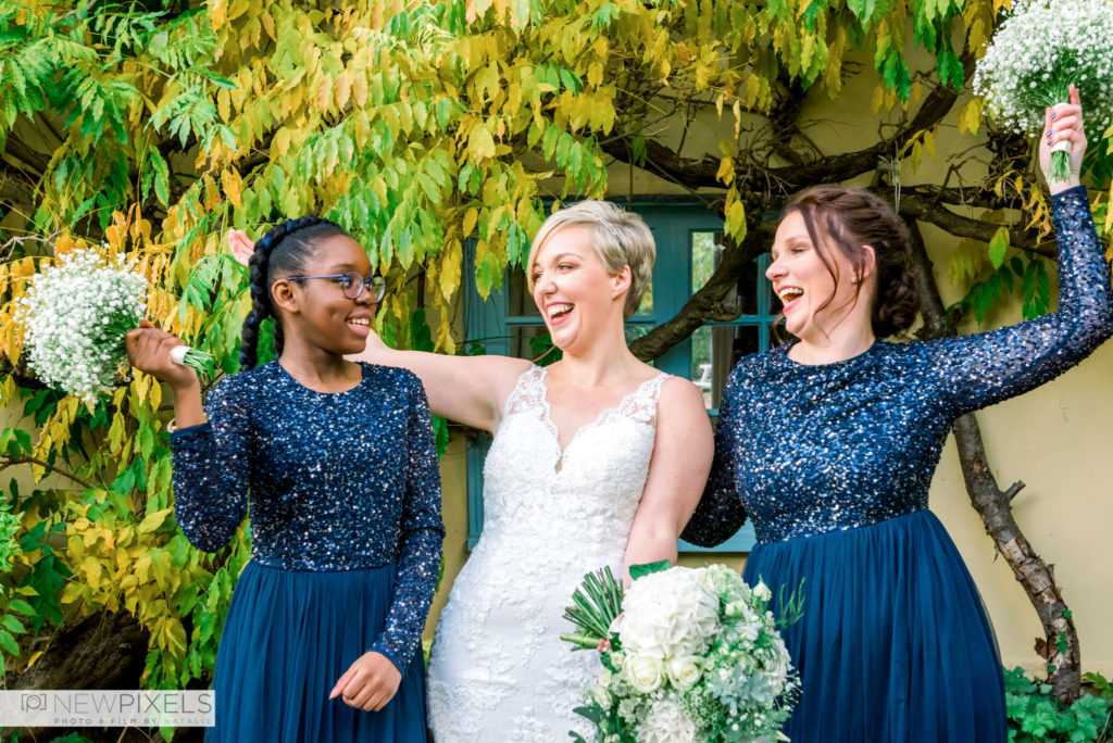 Bride-and-Bridesmaids-at-South-Farm-Cambridgeshire-Wedding-Venue-New-Pixels-Photo-Film-