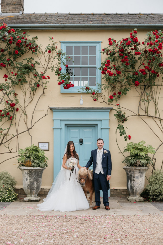 Bride and and Groom at Beautiful Cambridgeshire Country House Wedding Venue