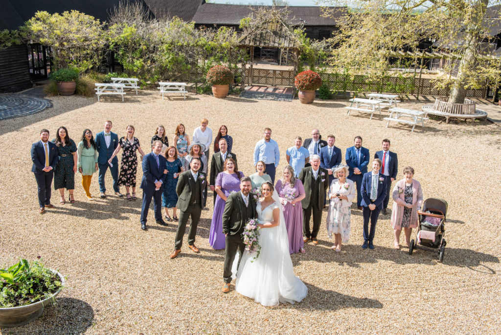 South Farm Wedding Photography Group Photo in Courtyard