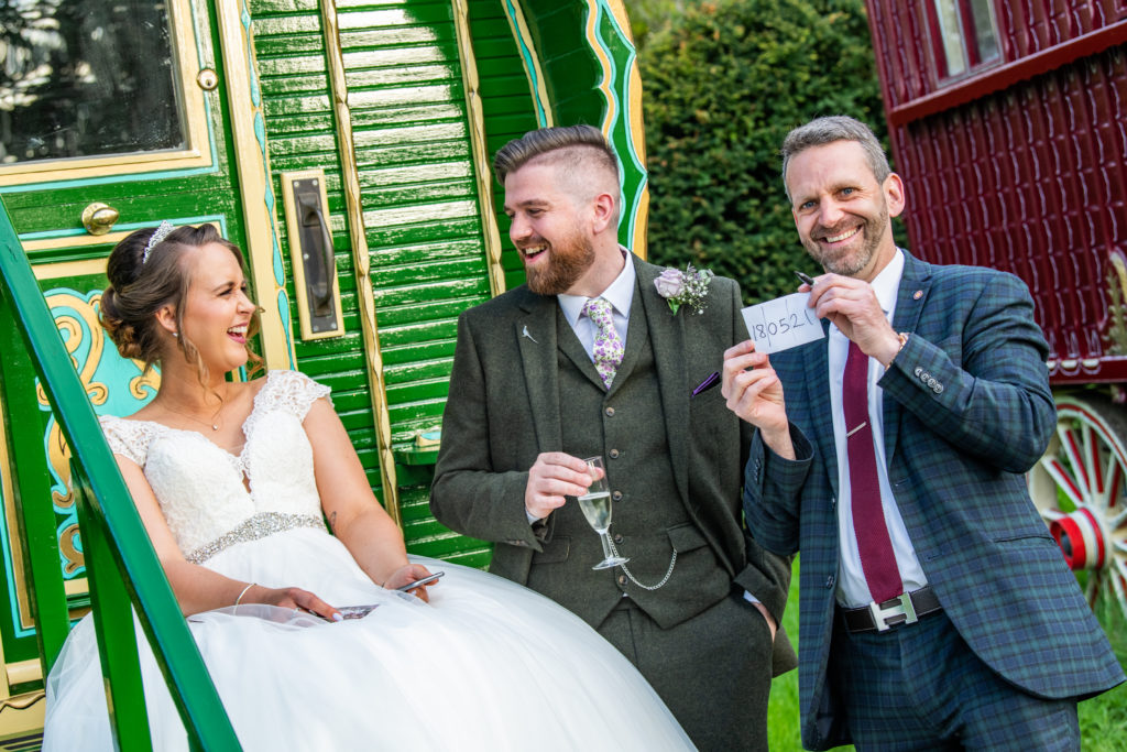 Lee Smith Magician entertains Bride and Groom at South Farm Wedding